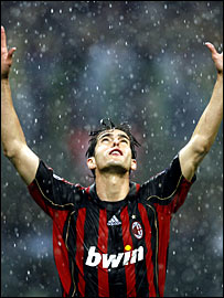 Kaka celebrates goal against Manchester United