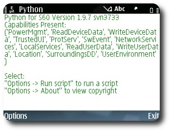 PyS60 Screenshot