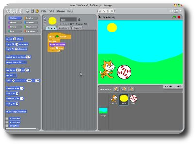 Screenshot of kitty playing in Scratch