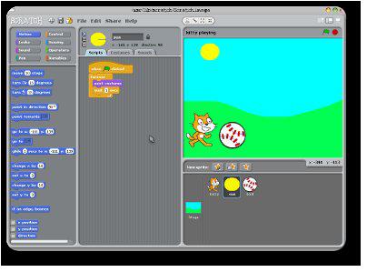 Screenshot of kitty playing in Scratch