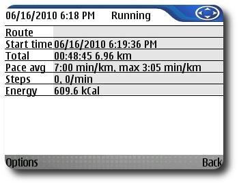 Sports Tracker June 16, 2010 Workout Screenshot #1