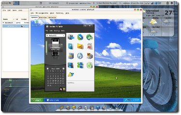 Screenshot of Nokia PC Suite connected to a USB device in virtualized Windows